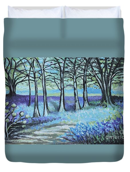 Duvet Cover featuring the painting Periwinkle Path by Elizabeth Robinette Tyndall