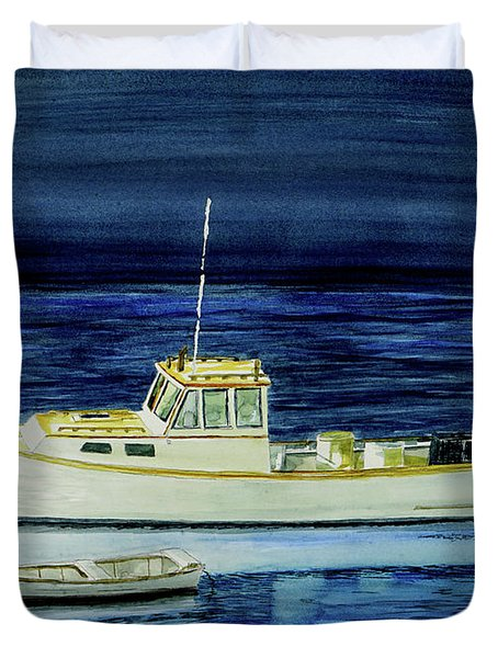 Perkins Cove Lobster Boat And Skiff Duvet Cover