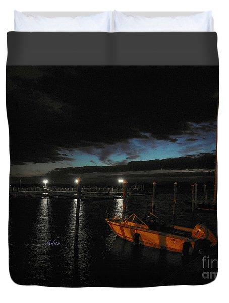Perkins Pier Sunset Duvet Cover
