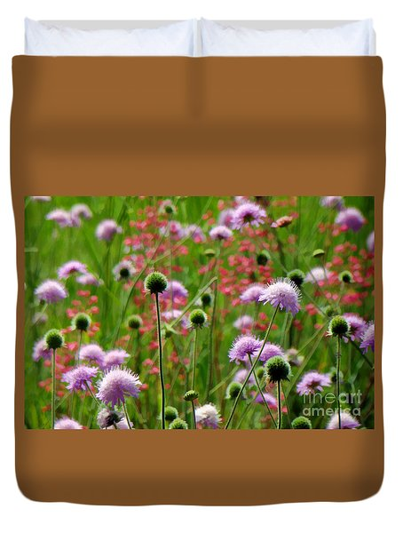 Perky Chives Duvet Cover by Betsy Zimmerli