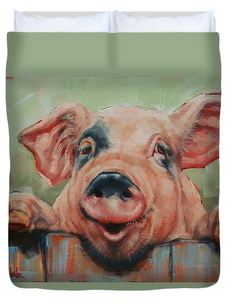 Duvet Cover featuring the painting Perky Pig by Margaret Stockdale