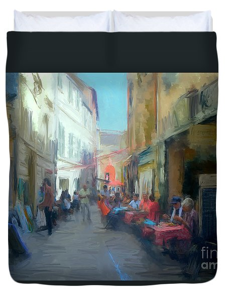 Perpignan Street Duvet Cover