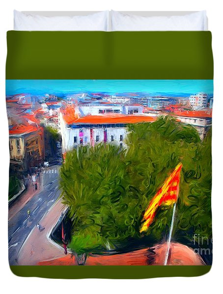 Perpignan With Catalan Flag Duvet Cover by Gerhardt Isringhaus