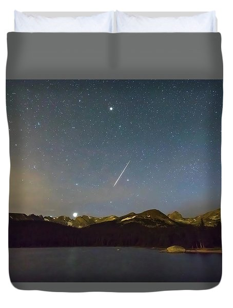 Duvet Cover featuring the photograph Perseid Meteor Shower Indian Peaks by James BO Insogna