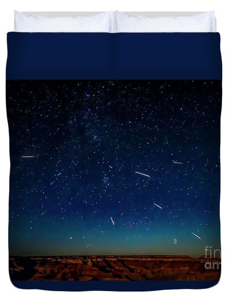 Perseid Meteor Shower Duvet Cover