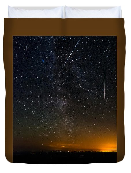 Perseids Meteor Shower Duvet Cover