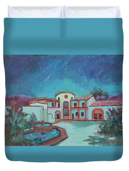 Duvet Cover featuring the painting Perseids Meteor Shower From La Quinta Museum by Diane McClary