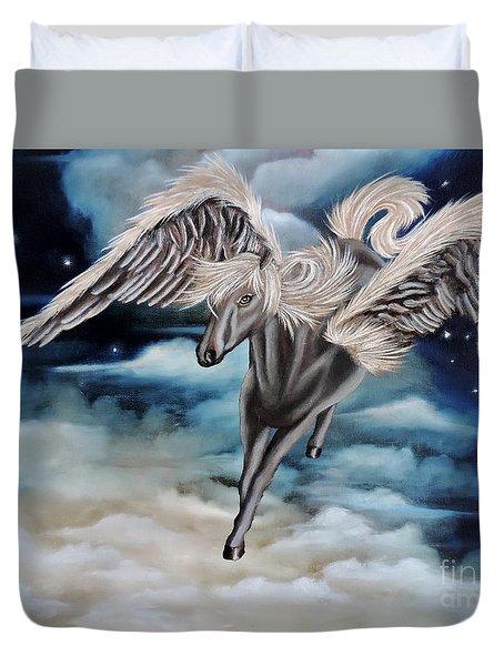 Perseus The Pegasus Duvet Cover by Dianna Lewis