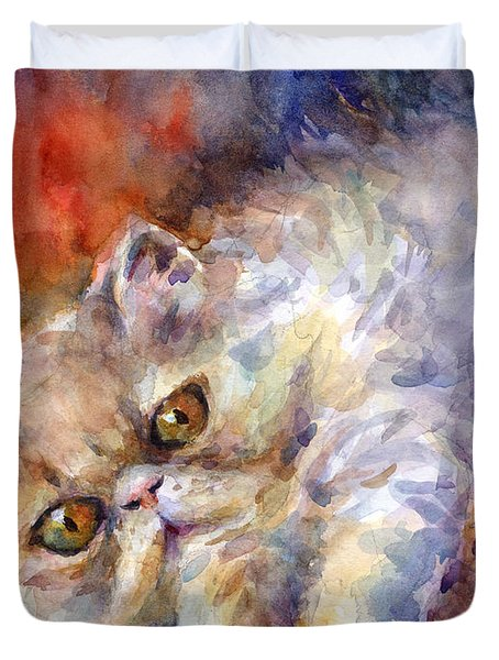 Persian Cat Painting Duvet Cover