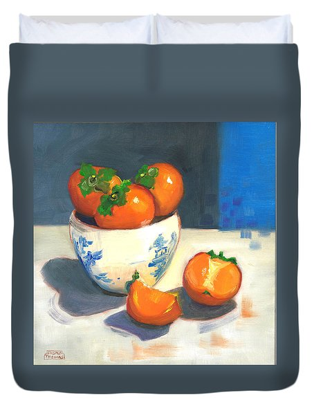 Persimmons Duvet Cover by Susan Thomas