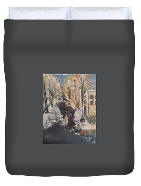 Duvet Cover featuring the painting Persistence by Saundra Johnson