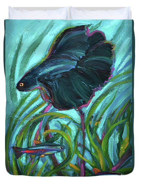 Duvet Cover featuring the painting Persistent Fish Betta  by Robert Phelps