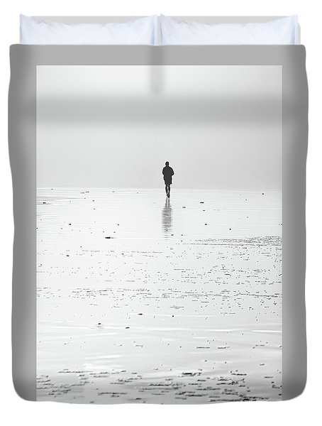 Person Running On Beach Duvet Cover