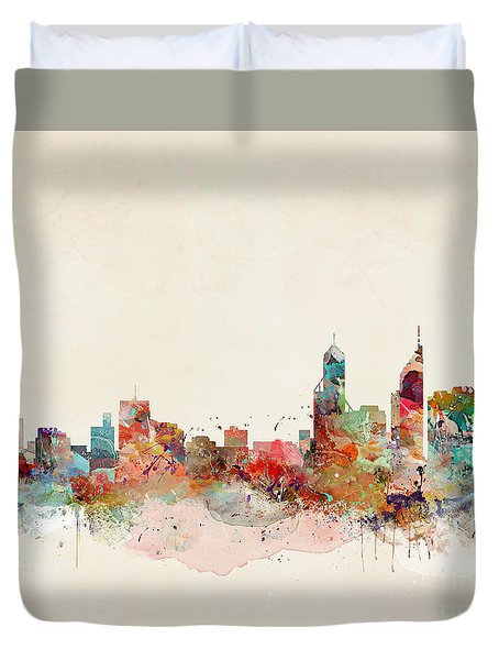 Duvet Cover featuring the painting Perth Australia by Bri B