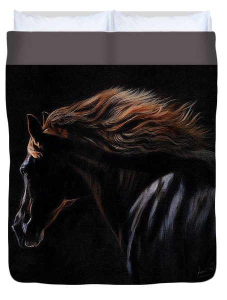 Duvet Cover featuring the painting Peruvian Paso Horse by David Stribbling