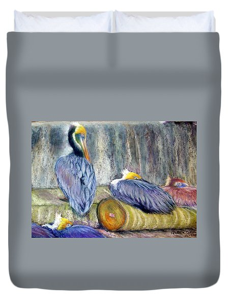 Duvet Cover featuring the pastel Peruvian Pelicans Three Pastel by Antonia Citrino