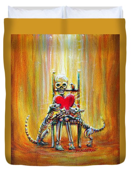 Duvet Cover featuring the painting Pet Love by Heather Calderon