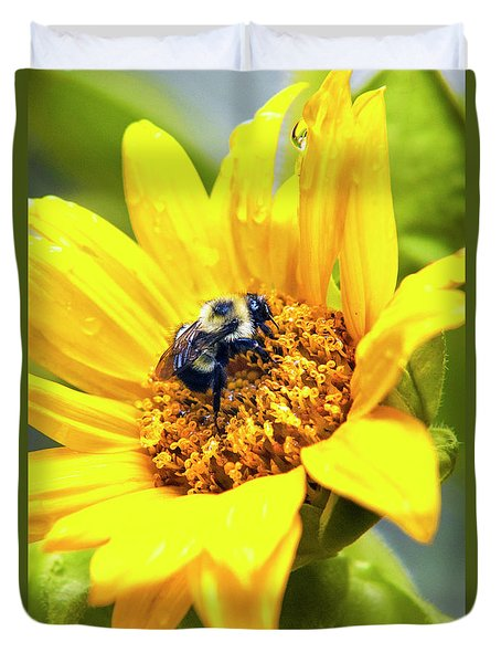 Duvet Cover featuring the photograph Petals And Drops by Christina Rollo