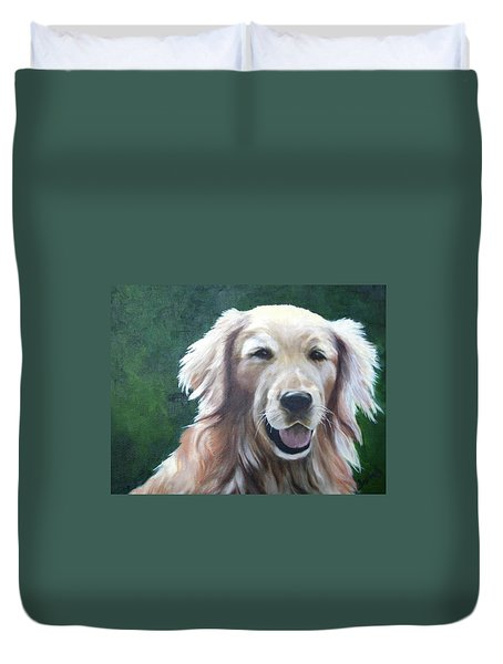 Duvet Cover featuring the painting Pete by Nancy Jolley