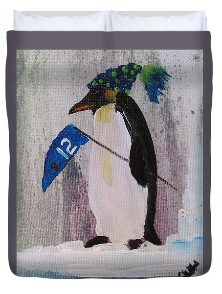 Peter Penquin At The Game Duvet Cover