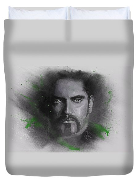 Duvet Cover featuring the drawing Peter Steele, Type O Negative by Julia Art