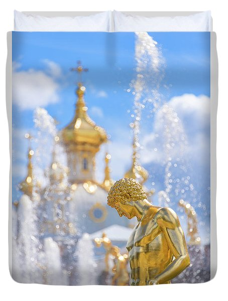 Duvet Cover featuring the photograph Peterhof by Delphimages Photo Creations