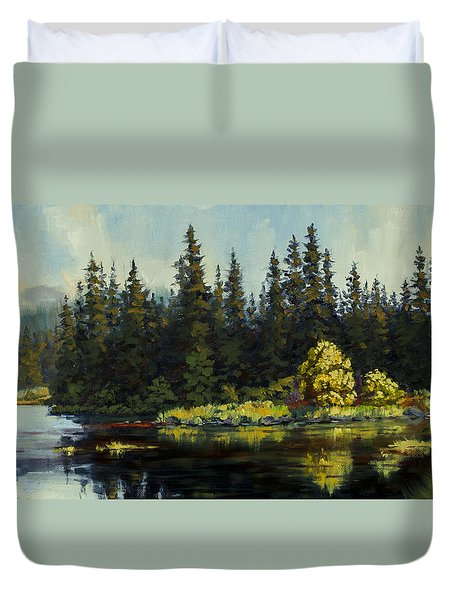 Duvet Cover featuring the painting Peterson Lake by Kurt Jacobson