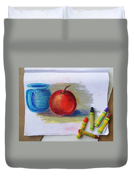 Duvet Cover featuring the drawing Petit Exercice En Pastel L'huile by Ginny Schmidt