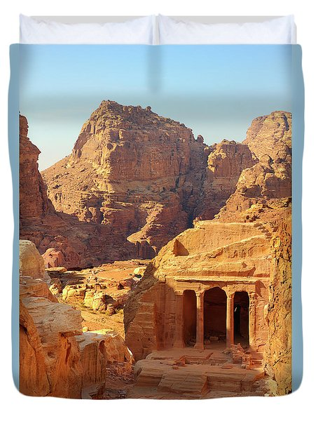 Petra Buildings, Pond And Gardens Complex Duvet Cover