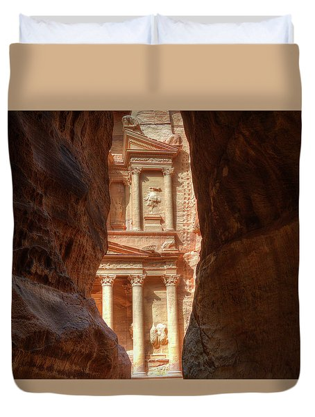 Petra Treasury Revealed Duvet Cover by Nigel Fletcher-Jones