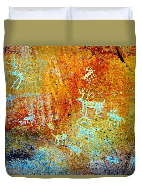 Petroglyph Panel Work 12 Duvet Cover