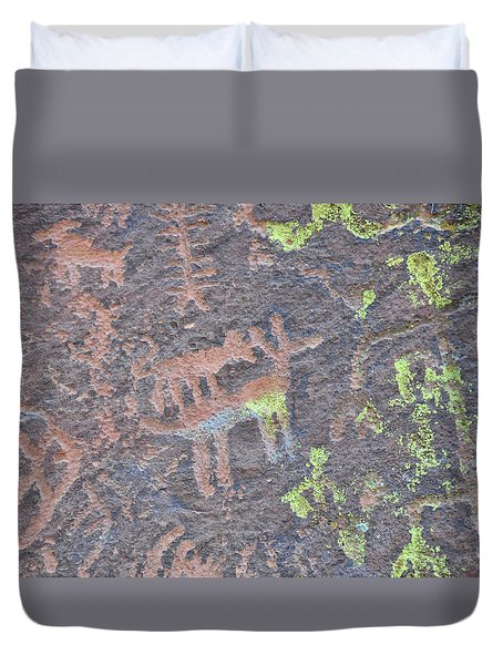 Petroglyph Wolf Attack Duvet Cover