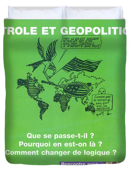 Duvet Cover featuring the painting Petrole Et Geopolitique by Emmanuel Baliyanga