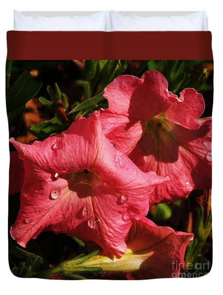Duvet Cover featuring the photograph Petunia Tears by J L Zarek