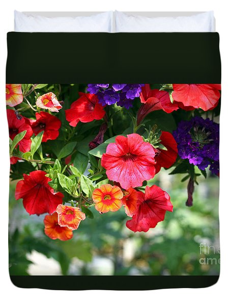 Duvet Cover featuring the photograph Petunias by Denise Pohl
