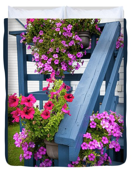 Duvet Cover featuring the photograph Petunias On Blue Porch by Elena Elisseeva