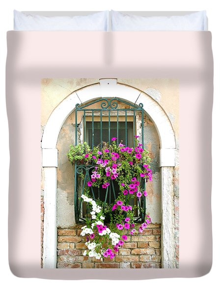 Petunias Through Wrought Iron Duvet Cover