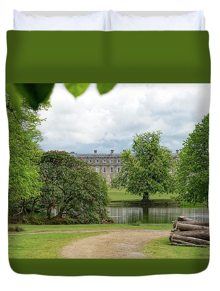 Petworth House On Lake Duvet Cover by Michael Hope
