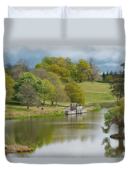 Petworth Lake In April Duvet Cover by Michael Hope
