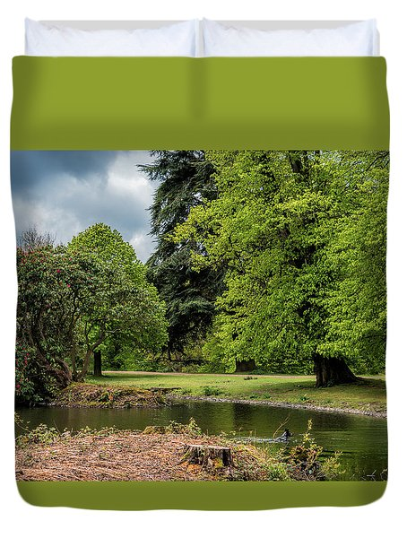 Petworth Lake With Dog Duvet Cover by Michael Hope
