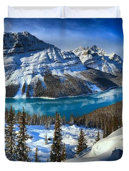 Peyto Lake Winter Panorama Duvet Cover by Adam Jewell
