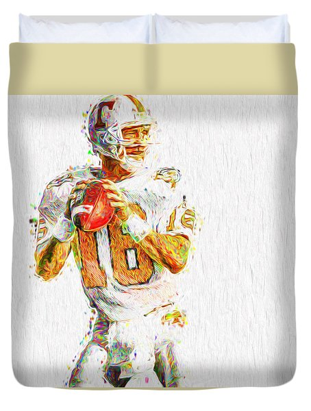 Peyton Manning Nfl Football Painting Tv Duvet Cover by David Haskett