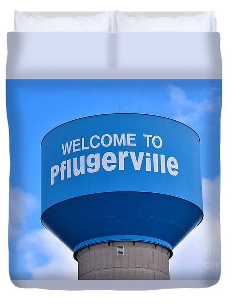 Pflugerville Texas - Water Tower Duvet Cover