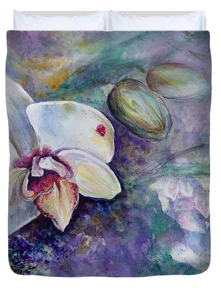Phalaenopsis Orchid With Hyacinth Background Duvet Cover