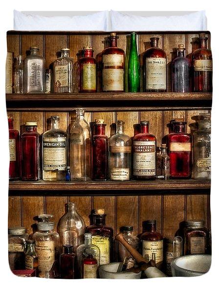 Pharmaceuticals Duvet Cover by Susan Candelario