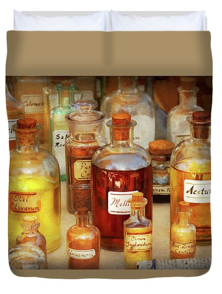 Duvet Cover featuring the photograph Pharmacy - Serums And Elixirs by Mike Savad