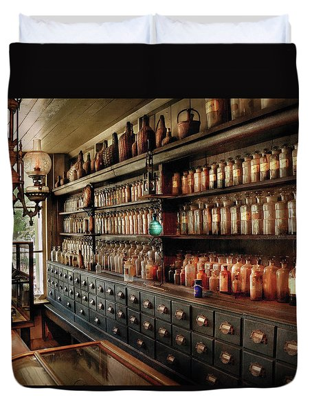 Pharmacy - So Many Drawers And Bottles Duvet Cover by Mike Savad
