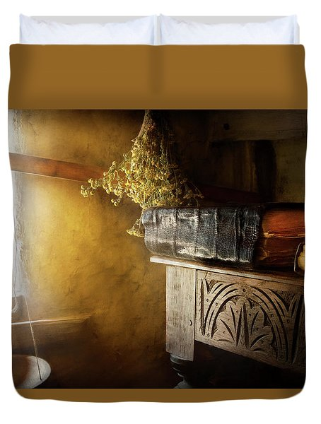 Duvet Cover featuring the photograph Pharmacy - The Apothecarian by Mike Savad