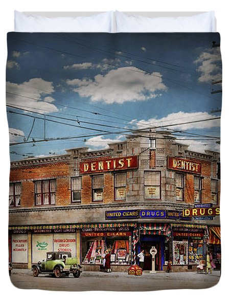 Duvet Cover featuring the photograph Pharmacy - The Corner Drugstore 1910 by Mike Savad