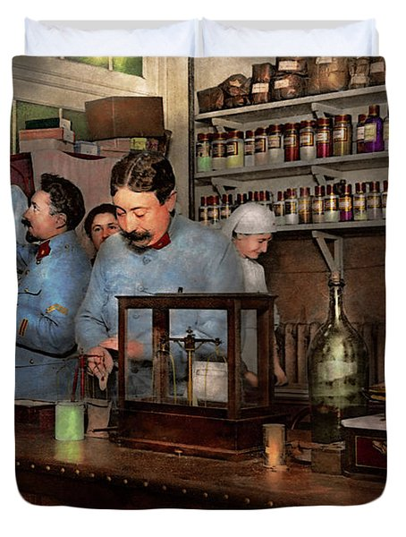 Duvet Cover featuring the photograph Pharmacy - The Dispensing Chemist 1918 by Mike Savad